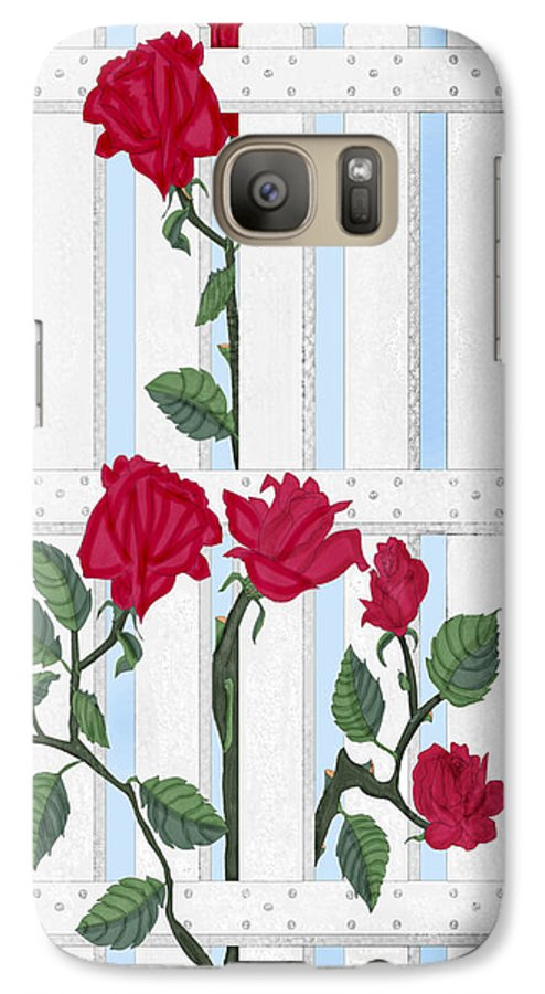 Roses Galaxy S7 Case featuring the painting Seven Roses For Mary by Anne Norskog
