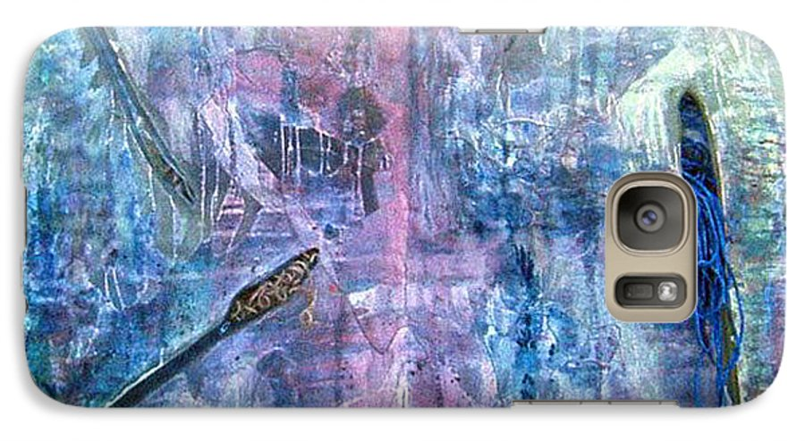Abstract Galaxy S7 Case featuring the painting Seven Zippers by Nancy Mueller