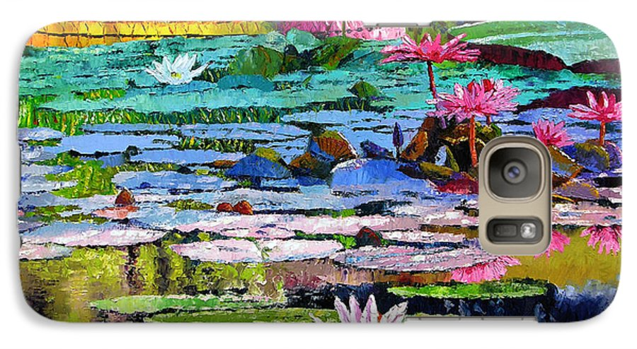Water Lilies Galaxy S7 Case featuring the painting Shadows And Sunlight by John Lautermilch