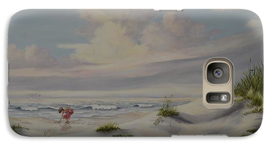 Landscape Galaxy S7 Case featuring the painting Shadows In The Sand Dunes by Wanda Dansereau