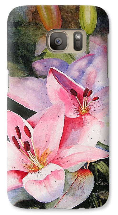 Lilies Galaxy S7 Case featuring the painting Shady Ladies by Karen Stark