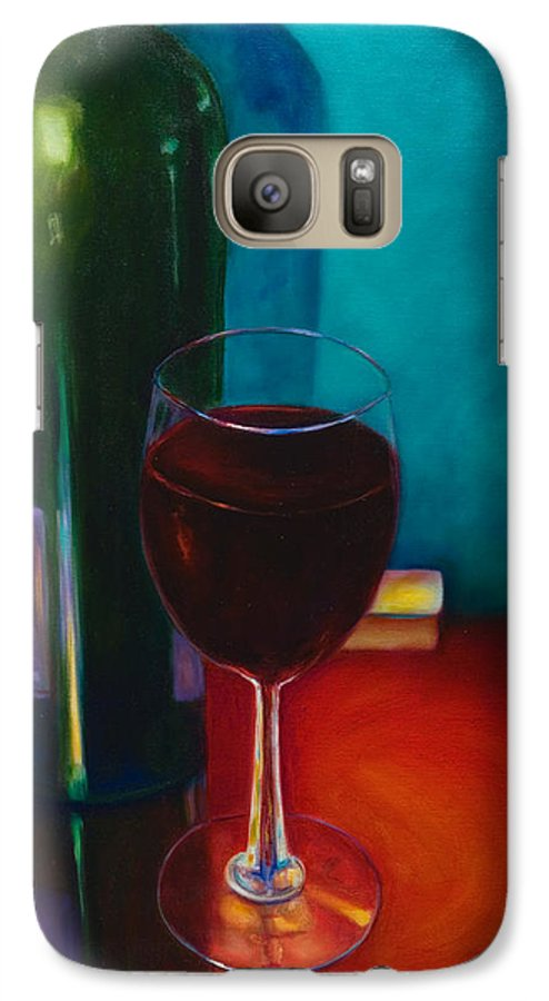 Wine Bottle Galaxy S7 Case featuring the painting Shannon's Red by Shannon Grissom