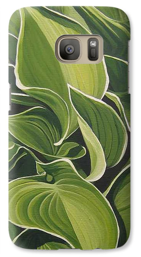 Closeup Of Hosta Plant Galaxy S7 Case featuring the painting Shapes That Go Together by Hunter Jay