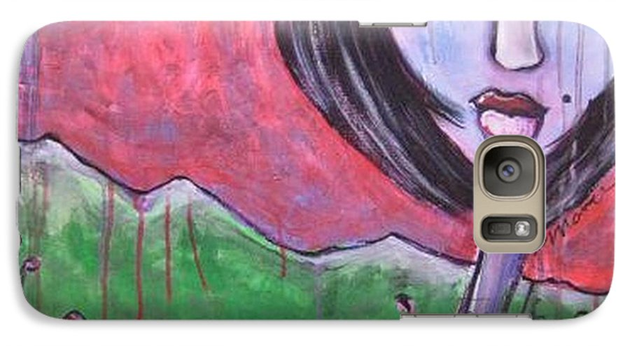 Poppies Galaxy S7 Case featuring the painting She Loved The Poppies by Laurie Maves ART