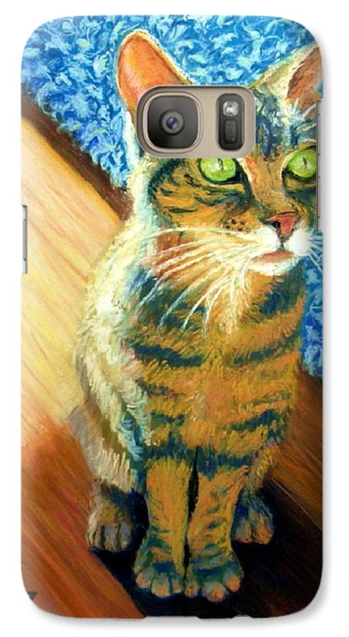 Cat Galaxy S7 Case featuring the painting She Wants To Be Famous by Minaz Jantz