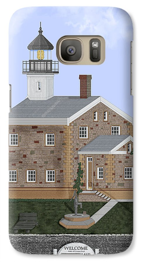 Lighthouse Galaxy S7 Case featuring the painting Sheffield Island Lighthouse Connecticut by Anne Norskog