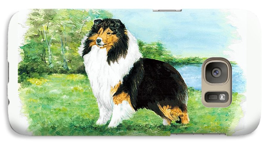 Shetland Sheepdog Galaxy S7 Case featuring the painting Sheltie Wait by Kathleen Sepulveda