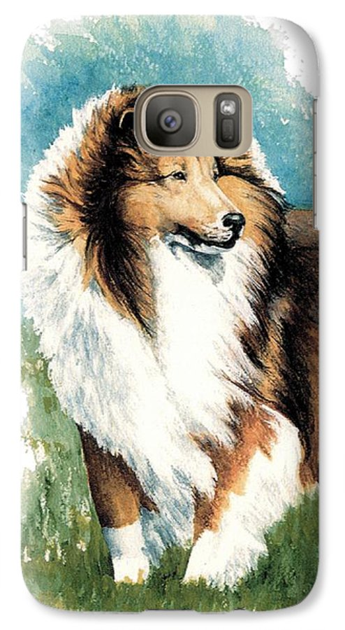 Shetland Sheepdog Galaxy S7 Case featuring the painting Sheltie Watch by Kathleen Sepulveda