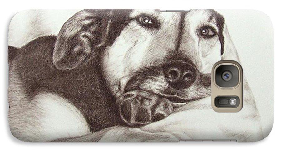 Dog Galaxy S7 Case featuring the drawing Shepherd Dog Frieda by Nicole Zeug