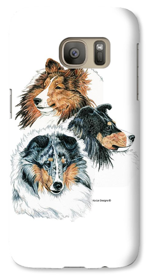 Shetland Sheepdog Galaxy S7 Case featuring the drawing Shetland Sheepdogs by Kathleen Sepulveda