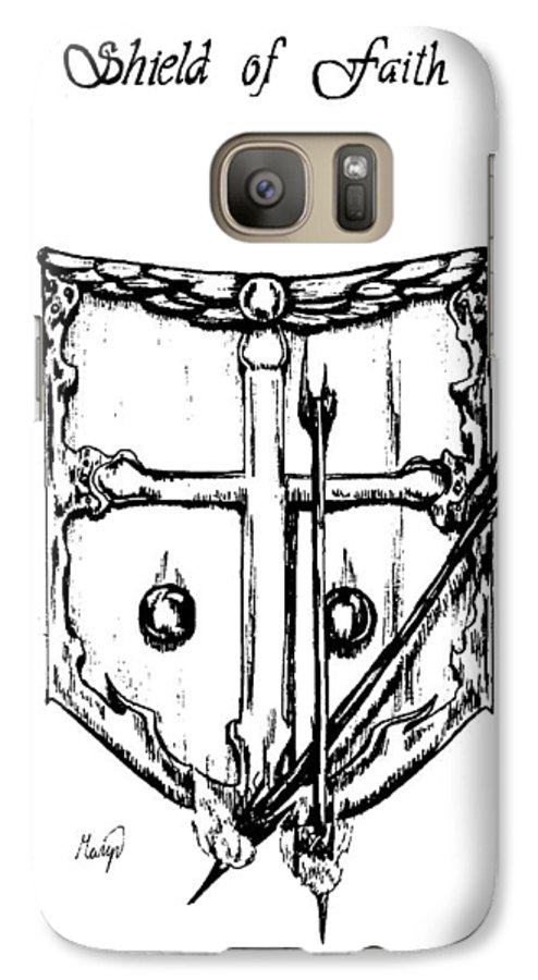 Shield Galaxy S7 Case featuring the drawing Shield Of Faith by Maryn Crawford