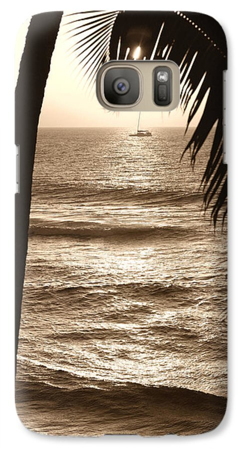 Hawaii Galaxy S7 Case featuring the photograph Ship In Sunset by Marilyn Hunt