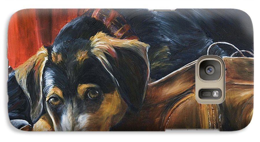 Dog Galaxy S7 Case featuring the painting Shoe Dog by Nik Helbig