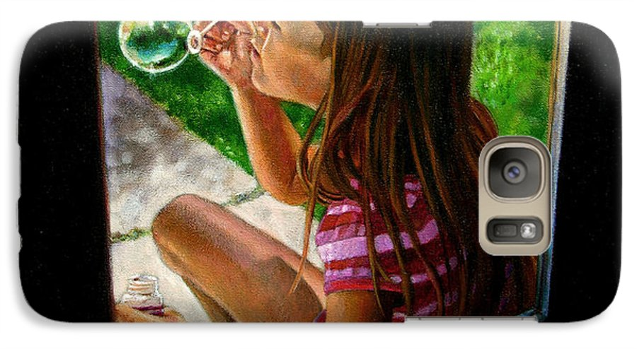 Girl Galaxy S7 Case featuring the painting Sierra Blowing Bubbles by John Lautermilch