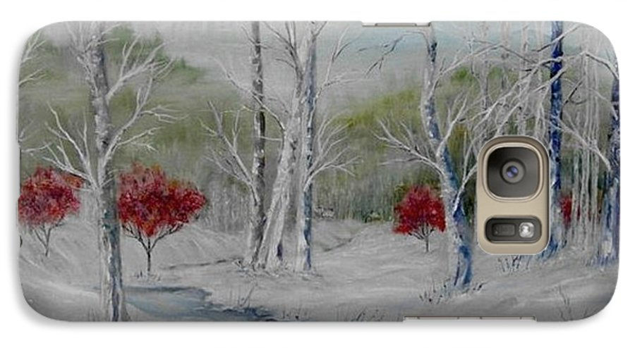 Snow; Winter; Birch Trees Galaxy S7 Case featuring the painting Silence by Ben Kiger
