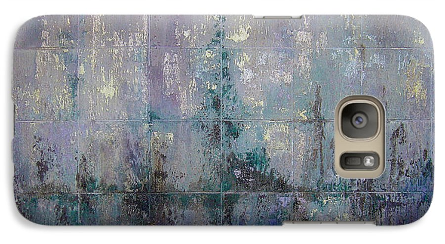 Abstract Galaxy S7 Case featuring the painting Silver And Silent by Shadia Derbyshire