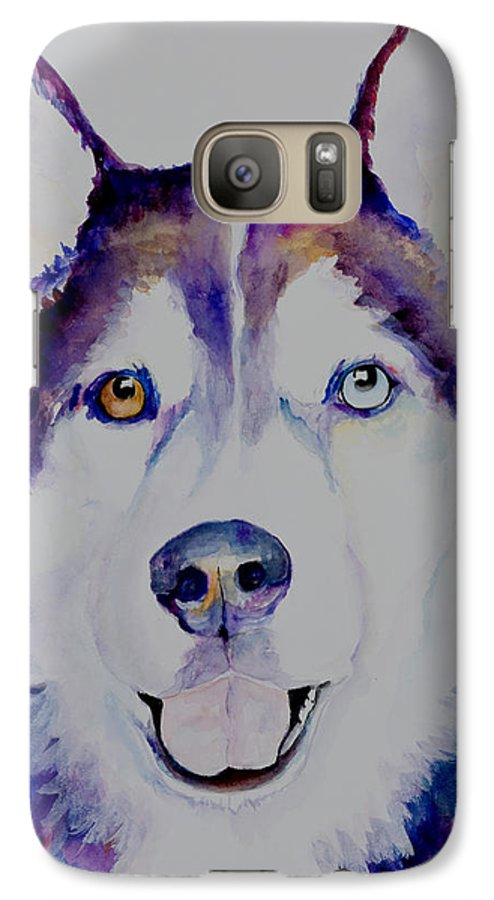 Siberian Husky Galaxy S7 Case featuring the painting Simba by Pat Saunders-White