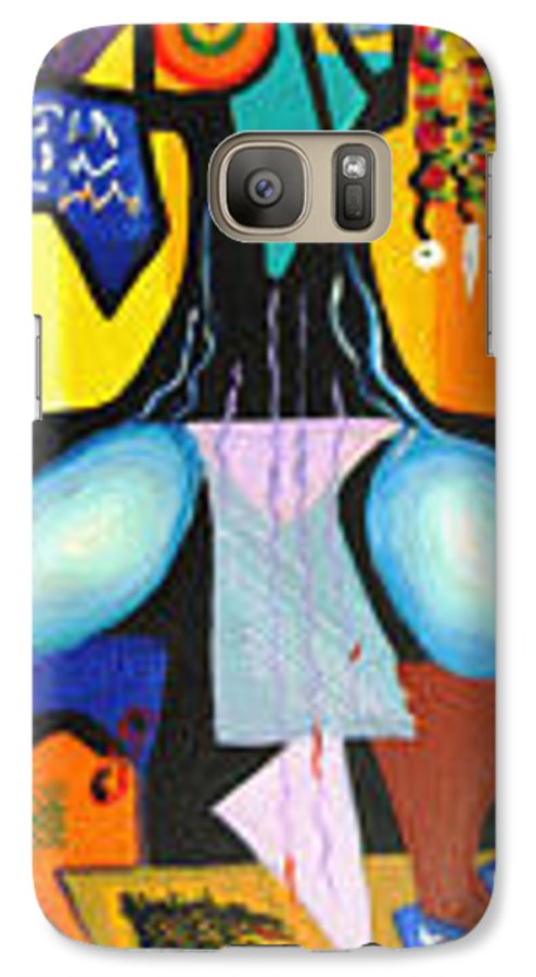 Abstract Galaxy S7 Case featuring the painting Simple Tree by Olga Alexeeva