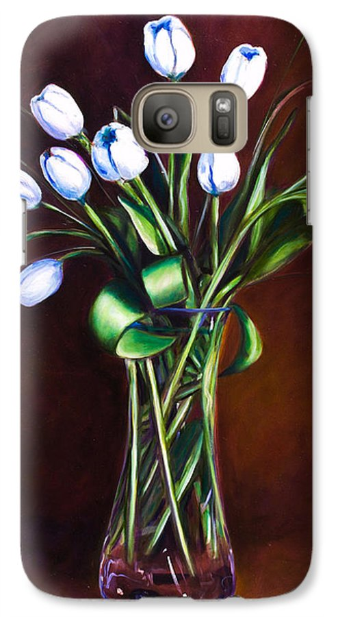 Shannon Grissom Galaxy S7 Case featuring the painting Simply Tulips by Shannon Grissom