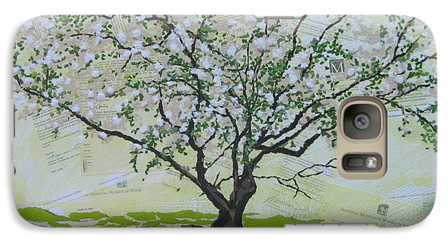 Apple Tree Galaxy S7 Case featuring the painting Sincerely-the Curator by Leah Tomaino