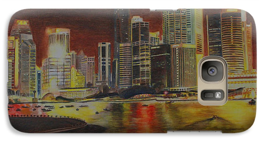 Cityscape Galaxy S7 Case featuring the painting Singapore Nights by Nik Helbig