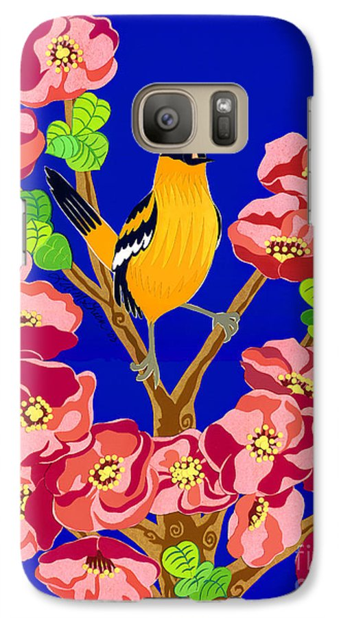 Nature Galaxy S7 Case featuring the drawing Singing Oriole by Lucyna A M Green