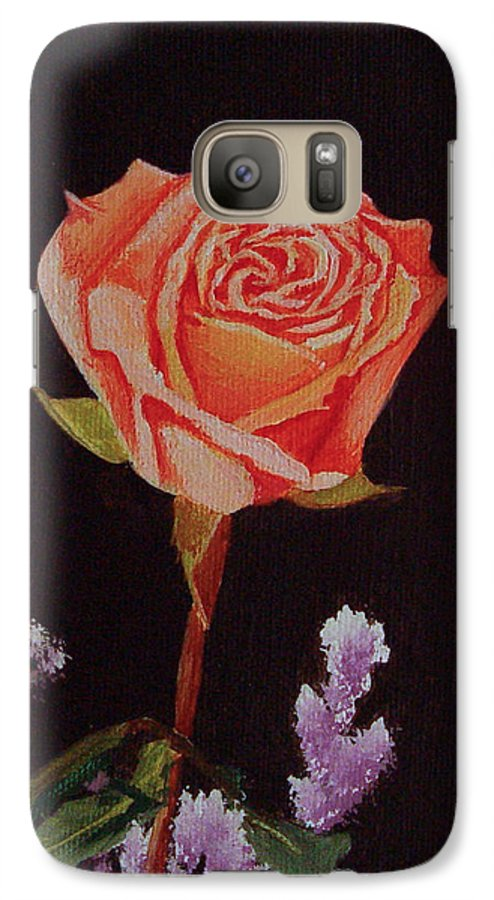 Rose Galaxy S7 Case featuring the painting Single Rose by Quwatha Valentine