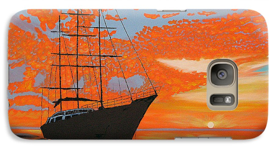 Seascape Galaxy S7 Case featuring the painting Sittin' On The Bay by Marco Morales