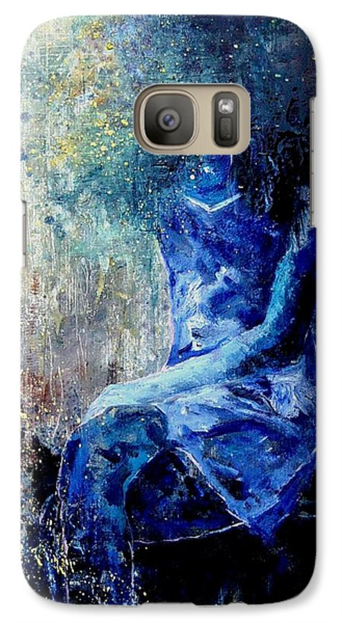 Woman Girl Fashion Galaxy S7 Case featuring the painting Sitting Young Girl by Pol Ledent