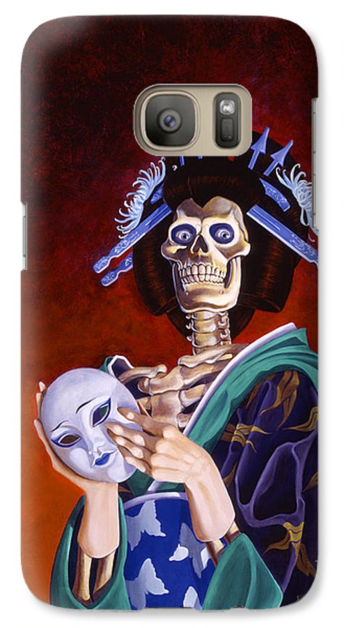 Skeleton Galaxy S7 Case featuring the painting Skeletal Geisha With Mask by Melissa A Benson