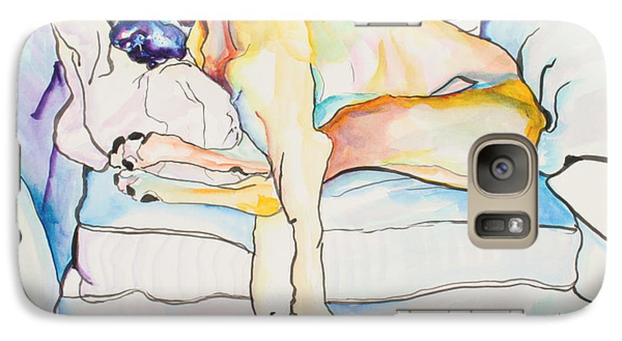 Great Dane Galaxy S7 Case featuring the painting Sleeping Beauty by Pat Saunders-White