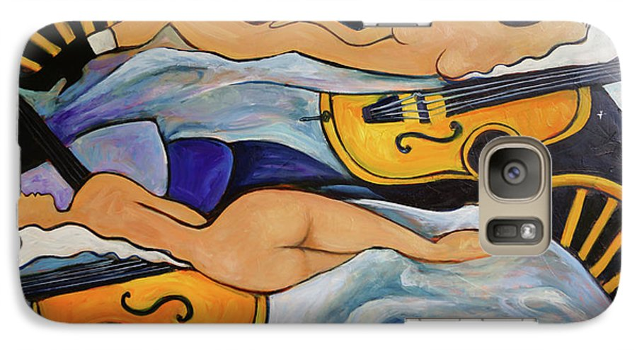 Musicians Galaxy S7 Case featuring the painting Sleeping Cellists by Valerie Vescovi