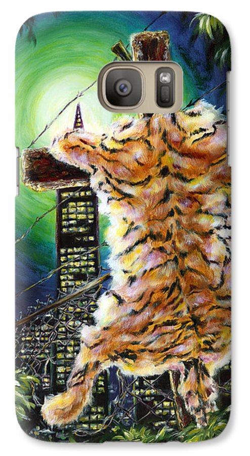 Tiger Galaxy S7 Case featuring the painting Slough... What I Have Left Behind The Fence To Survive In This Strange City by Hiroko Sakai