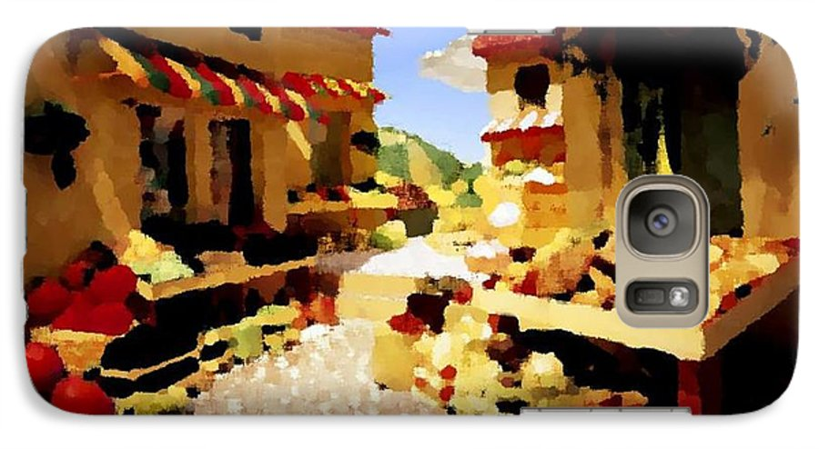 Market.town.street.road.houses.shadow.things For Sale.heat.rest.silence. Galaxy S7 Case featuring the digital art small urban market on Capri island by Dr Loifer Vladimir