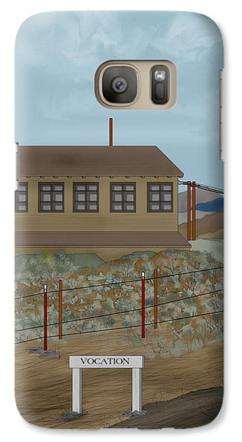 Camp Vocation Galaxy S7 Case featuring the painting Smokestack And Heart Mountain At Camp Vocation by Anne Norskog