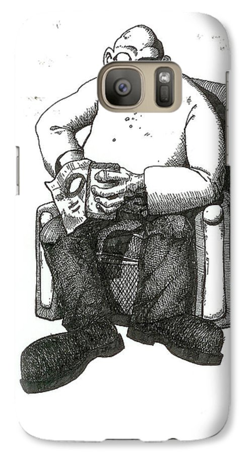 Buddha Galaxy S7 Case featuring the drawing Snacks by Tobey Anderson