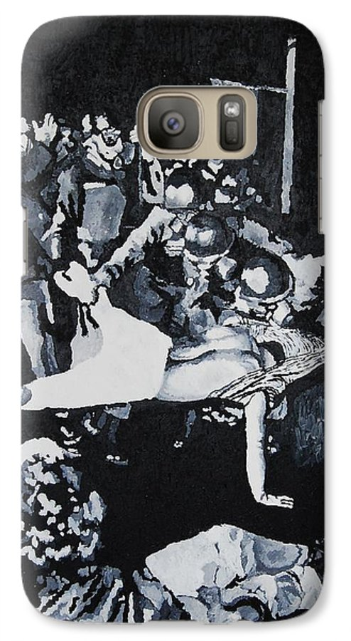 Civil Rights Galaxy S7 Case featuring the painting Sncc Photographer Is Arrested By National Guard by Lauren Luna