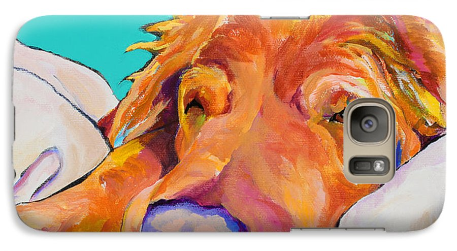 Dog Poortraits Galaxy S7 Case featuring the painting Snoozer King by Pat Saunders-White