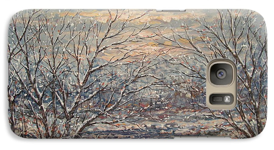 Landscape Galaxy S7 Case featuring the painting Snow By Brook. by Leonard Holland