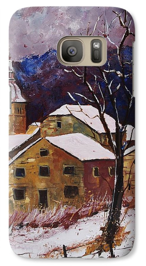 Landscape Galaxy S7 Case featuring the painting Snow In Chassepierre by Pol Ledent