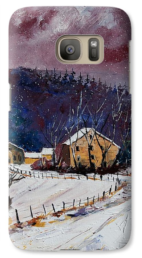 Landscape Galaxy S7 Case featuring the painting Snow In Sechery by Pol Ledent