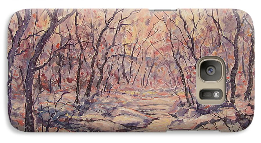 Landscape Galaxy S7 Case featuring the painting Snow In The Woods. by Leonard Holland