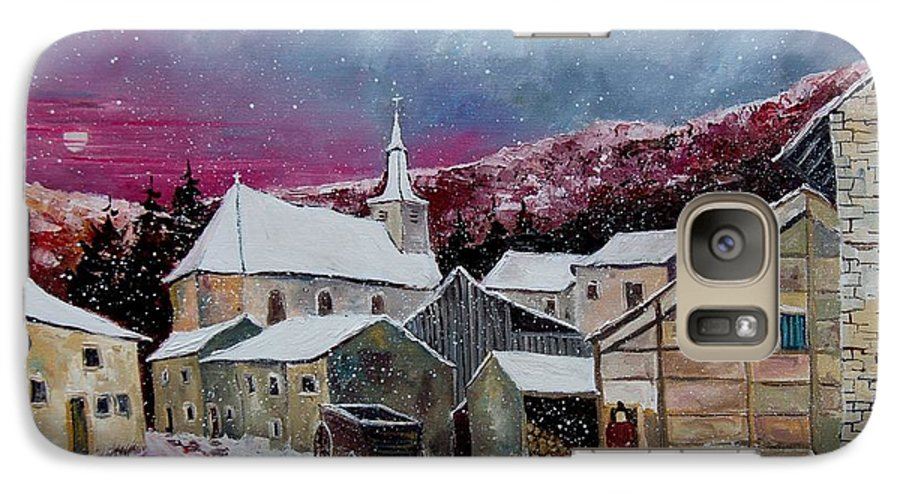 Snow Galaxy S7 Case featuring the painting Snow Is Falling by Pol Ledent