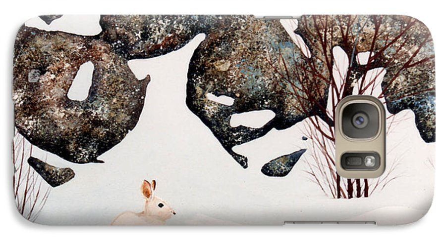 Wildlife Galaxy S7 Case featuring the painting Snow Ledges Rabbit by Frank Wilson