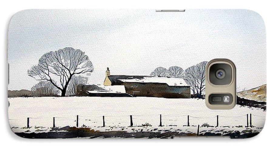 Winter Scene Galaxy S7 Case featuring the painting Snow Scene Barkisland by Paul Dene Marlor