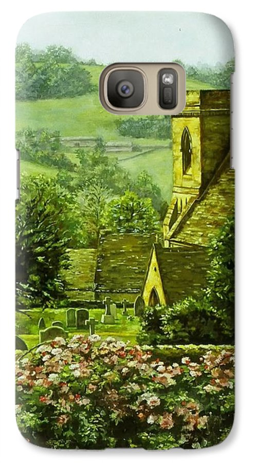 Landscape Church Galaxy S7 Case featuring the painting Snowshill by Ruth Stromswold