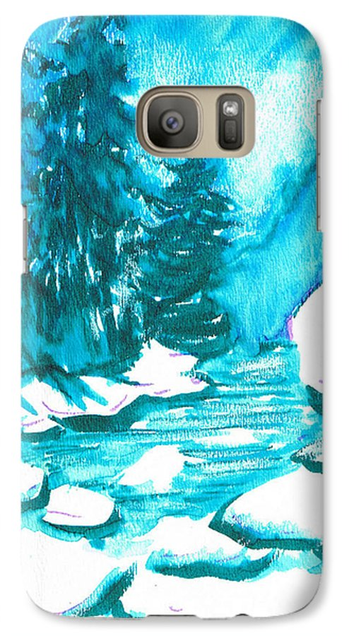 Chilling Galaxy S7 Case featuring the mixed media Snowy Creek Banks by Seth Weaver