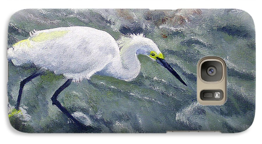 Egret Galaxy S7 Case featuring the painting Snowy Egret Near Jetty Rock by Adam Johnson