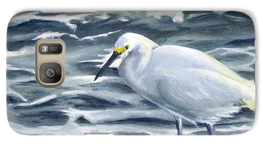 Egret Galaxy S7 Case featuring the painting Snowy Egret On Jetty Rock by Adam Johnson
