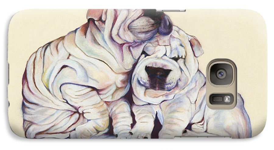 Dog Painting Galaxy S7 Case featuring the pastel Snuggles by Pat Saunders-White